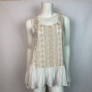 Altar'd State Embroidered Peplum Tank Top Large